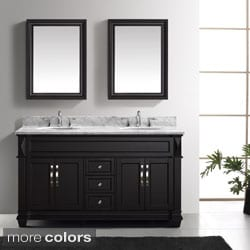 Virtu USA Victoria 60-Inch Double Sink Bathroom Vanity Set