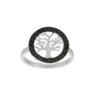 Sterling Silver Black Cubic Zirconia Tree Ring