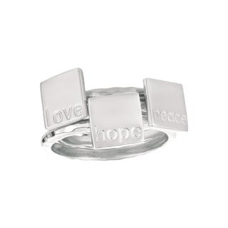Sterling Silver Peace, Love and Hope 3-piece Ring Set