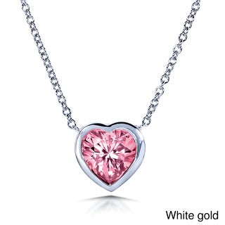 Annello 14k Rose or White Gold Heart Shape Pink Moissanite Solitaire