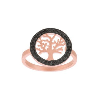 Rose Gold over Sterling Silver Black Cubic Zirconia Tree Ring
