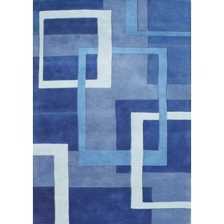 Alliyah Handmade Metro Blue New Zealand Blend Wool Rug (9' x 12')
