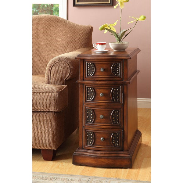 Table Oak Finish Side Table with Drawers Coffee Sofa End Tables Living ...