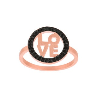 Rose Gold over Sterling Silver Black Cubic Zirconia 'Love' Ring