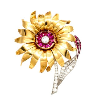 18k Gold Ruby and 1 1/2ct TDW Diamond Sunflower Estate Brooch (E-F, VS1-VS2)