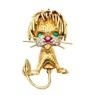 18k Gold Emerald, Ruby and 1/10ct TDW Diamond Leo Lion Brooch (I-J, SI1-SI2)