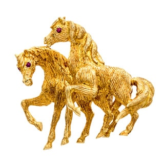 18K Yellow Gold Ruby Accent Horse Estate Brooch