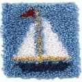 Wonderart Latch Hook Kit 8 X8 - Sailboat