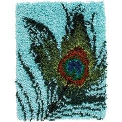 Wonderart Latch Hook Kit 15 X20 - Peacock Feather