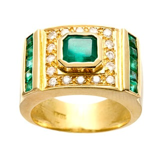 18k Yellow Gold Emerald and 1/3ct TDW Diamond Estate Ring (J-K, SI1-SI2)