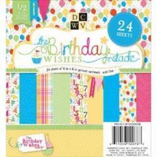 Birthday Wishes Paper Stack 6 X6 24/Sheets - 12 Designs/2 Each, 6 W/Glitter Or Foil