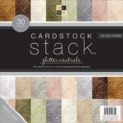 Cardstock Stack 12 X12 30/Sheets - Neutral Glitter Texture, 10 Colors/3each