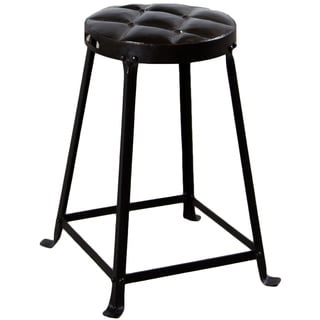 Old Iron Lacquer 21-Inch Tufted Top Metal Stool (India)