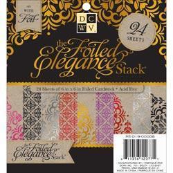 Foiled Elegance Kraft Paper Stack 6 X6 24/Sheets - 12 Designs/2 Each, W/Foil Accents