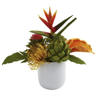 Tropical Floral Arrangement and White Glass Vase