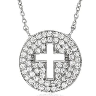 Dolce Giavonna Sterling Silver Cubic Zirconia Circle Cross Necklace