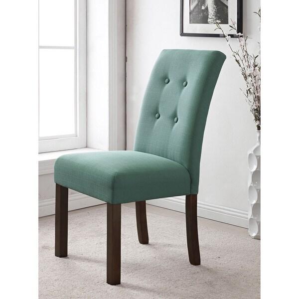 4-button Tufted Aqua Textured Parson Chair (Set of 2)