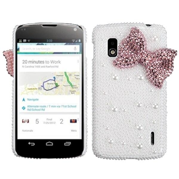BasAcc Pink Bow Pearl 3D Diamante Case for LG E960 Nexus 4