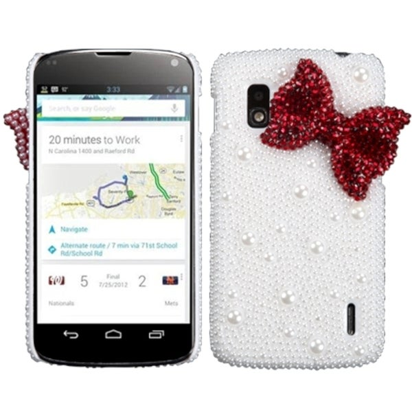 BasAcc Red Bow Pearl 3D Diamante Case for LG E960 Nexus 4
