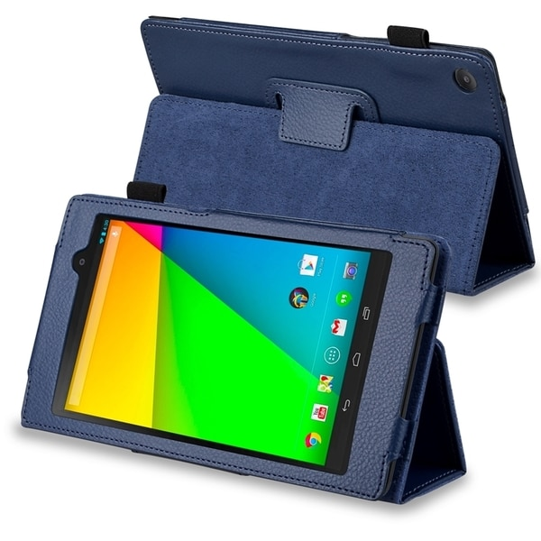BasAcc Navy Blue Leather Case with Stand for Google New Nexus 7