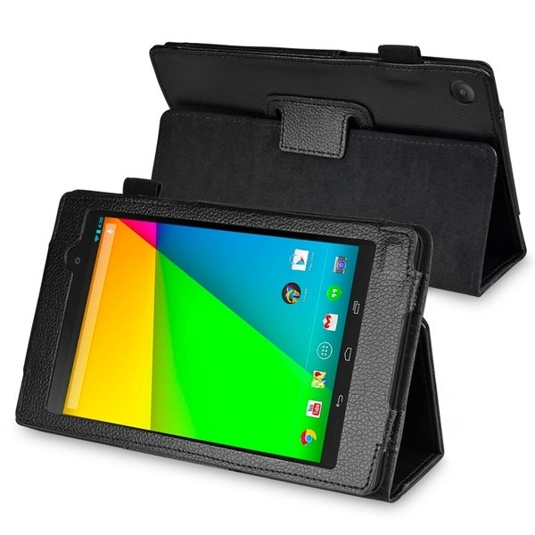 BasAcc Black Leather Case with Stand for Google New Nexus 7
