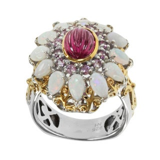 Michael Valitutti Two-tone Sterling Silver Pink Tourmaline, Opal and Pink Sapphire Ring