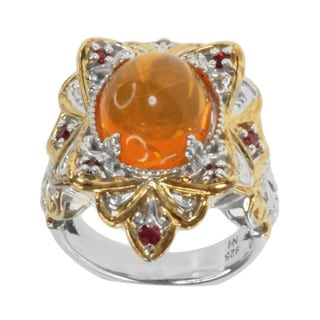 Michael Valitutti Two-tone Sterling Silver Fire Opal and Orange Sapphire Ring