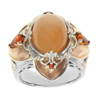 Michael Valitutti Sterling Silver Peach Moonstone and Orange Sapphire Ring