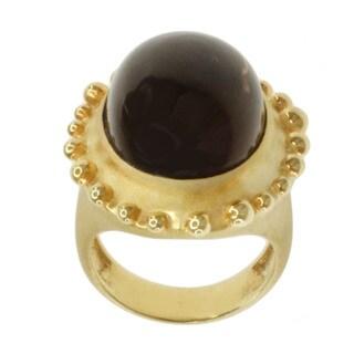 Michael Valitutti Gold over Silver Smokey Quartz Ring