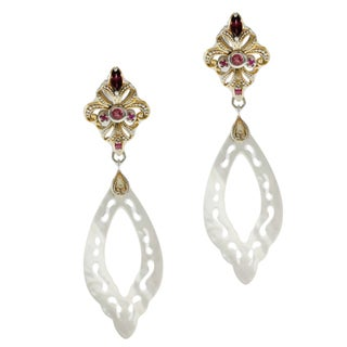 Michael Valitutti Two-tone Sterling Silver Shell, Rhodolite, Pink Tourmaline and Sapphire Earrings