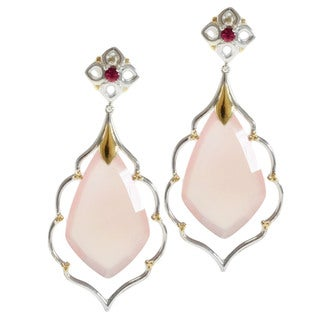 Michael Valitutti Two-tone Sterling Silver Pink Chalcedony and Pink Tourmaline Earrings