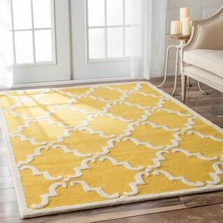 nuLOOM Handmade Marrakesh Trellis Gold Wool Rug (3' x 5')