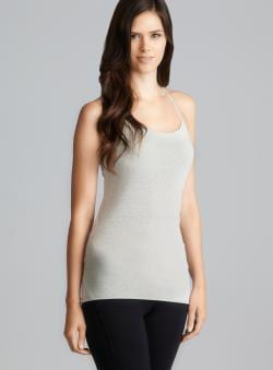 Central Park Gray T Back Cami With Padded Shelf Bra