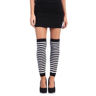 Hustler Lingerie Black/White Striped Leg Warmer (Set of 2)
