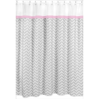 Sweet Jojo Designs Chevron Grey Shower Curtain Pink Trim