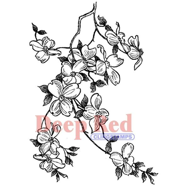 Deep Red Cling Stamp - Cherry Blossoms