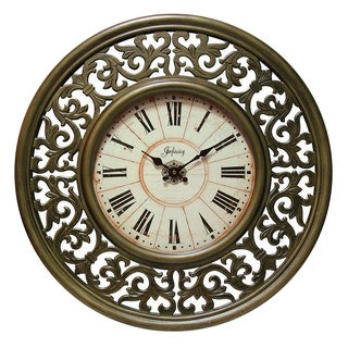 Crescendo 26-inch Antiqued Gold MDF Wall Clock
