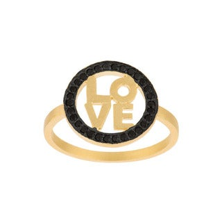 Gold over Sterling Silver Black Cubic Zirconia 'Love' Ring