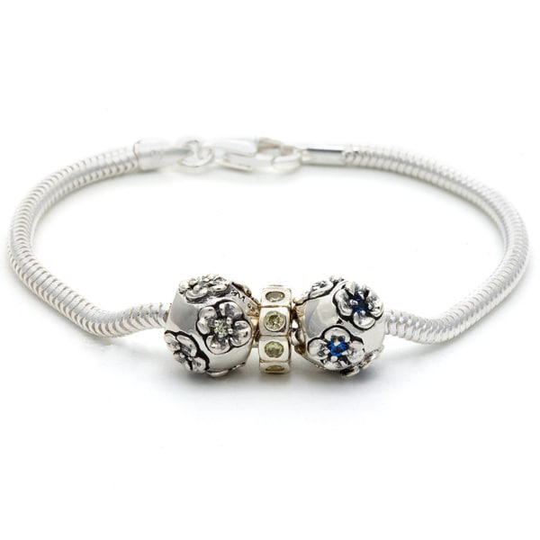 Silver Blue, Yellow and Clear Crystal Flower Bead Charm Bracelet