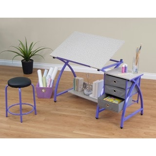 Comet Center Purple/ Splatter Grey Drafting Table with Stool