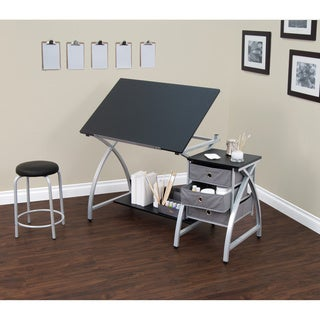 Comet Center Silver/ Black Drafting Table with Stool
