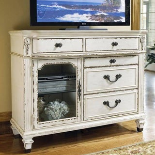 Providence Antiqued White TV Chest