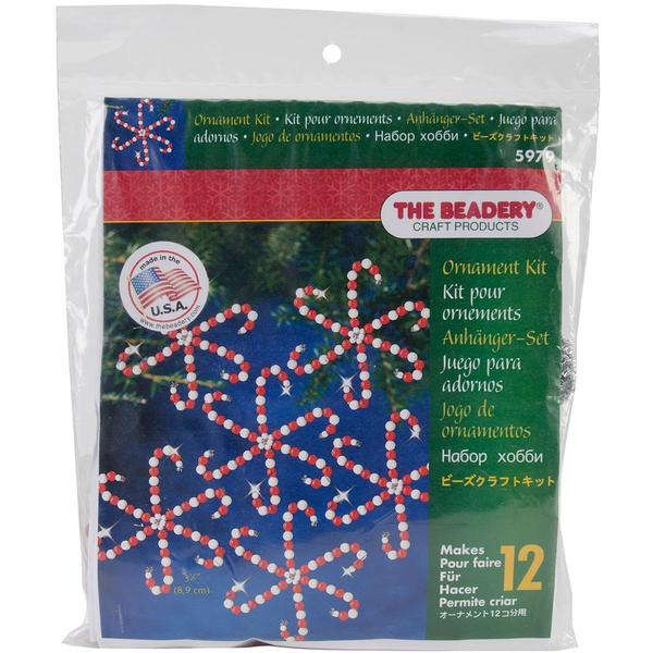Holiday Beaded Ornament Kit - Candy Cane Snowflakes