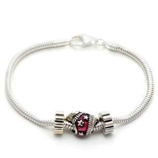 Sterling Silver Pink Enamel 'Sleepy Cat' Bead Bracelet