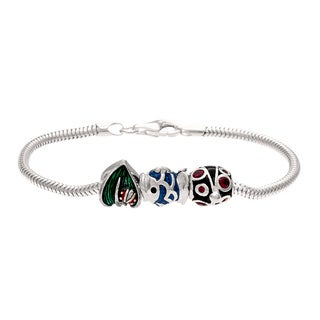 Silver Blue, Green and Red Crystal and Enamel Bead Charm Bracelet