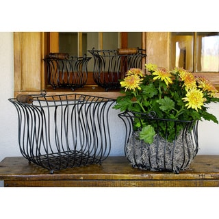 Square Iron Baskets and Wood Handles (Set of 4)