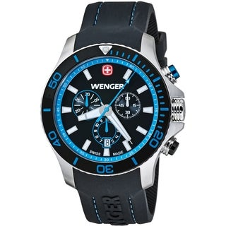 Wenger Men's Sea Force Chrono Black Dial Blue Accent Diver Watch - 0643.103