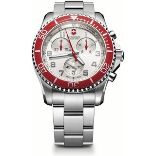 Swiss Army Men's Maverick GS Chrono Silver Dial Red Accent Watch - 241434