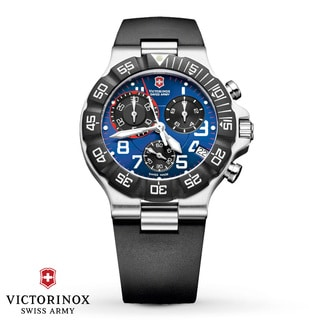 Swiss Army Men's Summit XLT Chrono Blue Dial Rubber Strap Watch - 241406