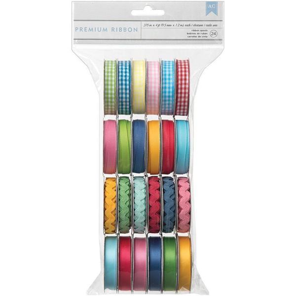 Mayberry Value Pack Premium Ribbon 24/Spools - .375 Wide X 4' Per Spool